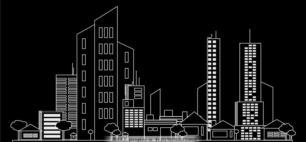 线条城市 建筑 高楼 大厦 地产 房地产 房地产公司 房地产开发