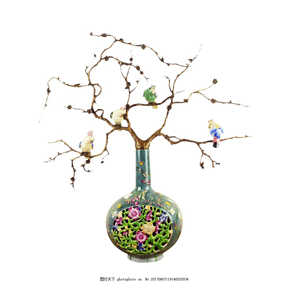 花瓶摆件免抠素材 小清新 树枝 镂空