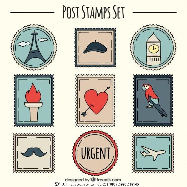 手绘可爱邮票集