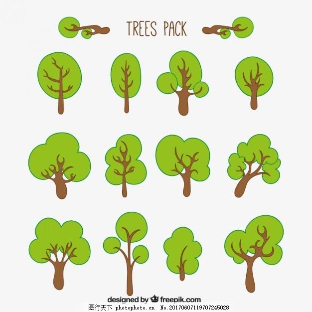 绿色的树包 手 自然 手绘 森林 素描 树木 绘画 包装 草图
