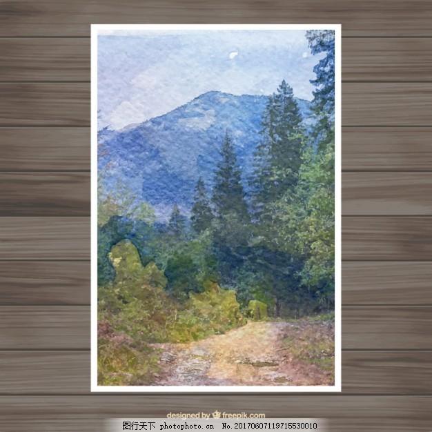 水彩风景卡 水彩 贺卡 手 绿 自然 山水 春 叶 树 环境 绿叶 小路