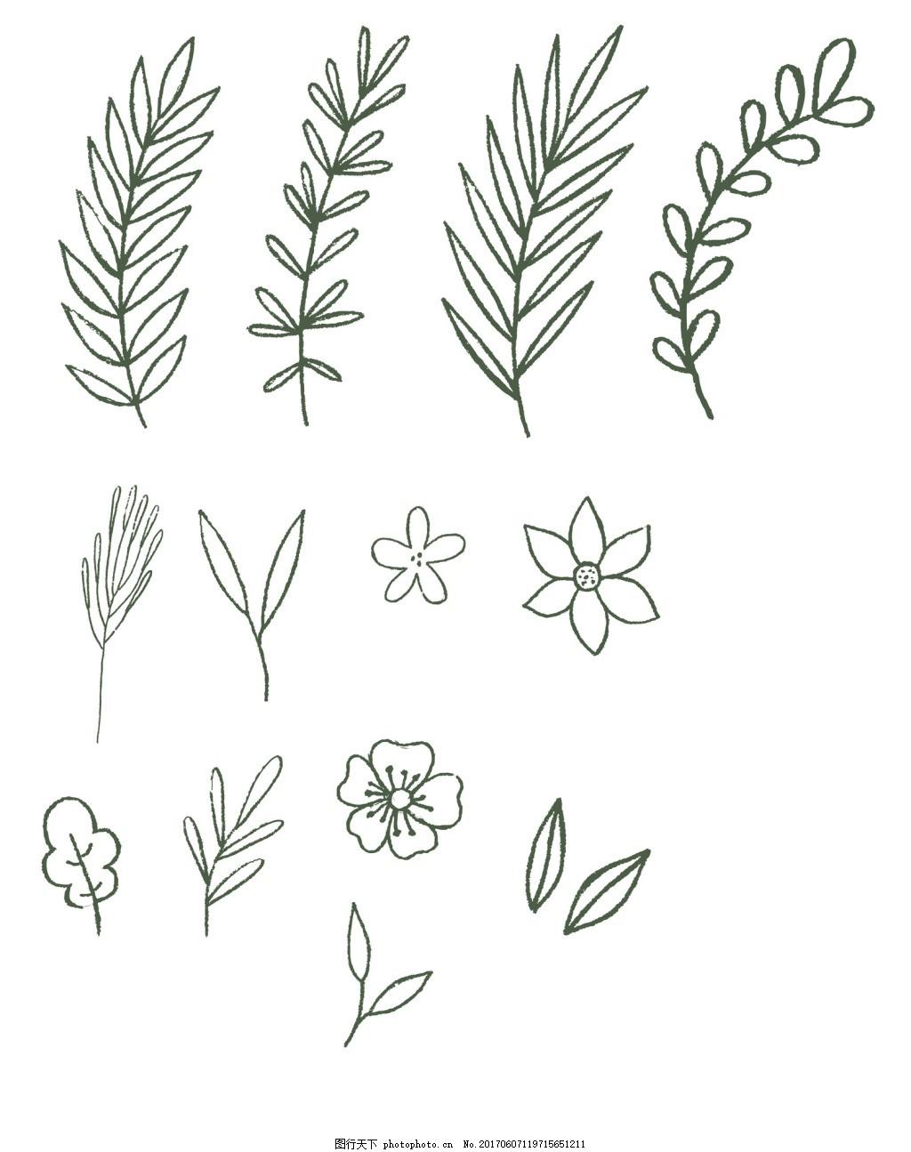 可爱手绘花朵树枝矢量设计素材 黑白 线稿 装饰 卡通 合集
