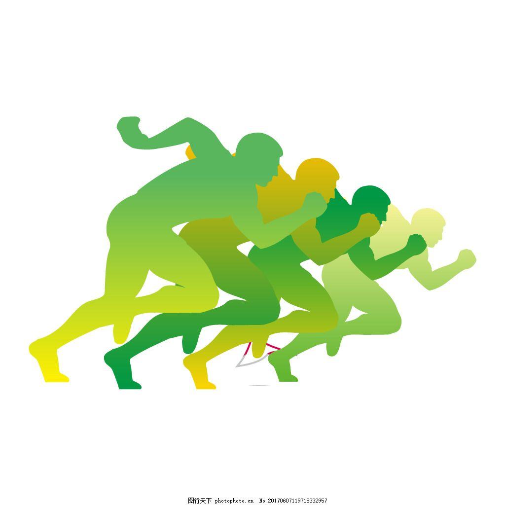 手绘绿色奔跑元素