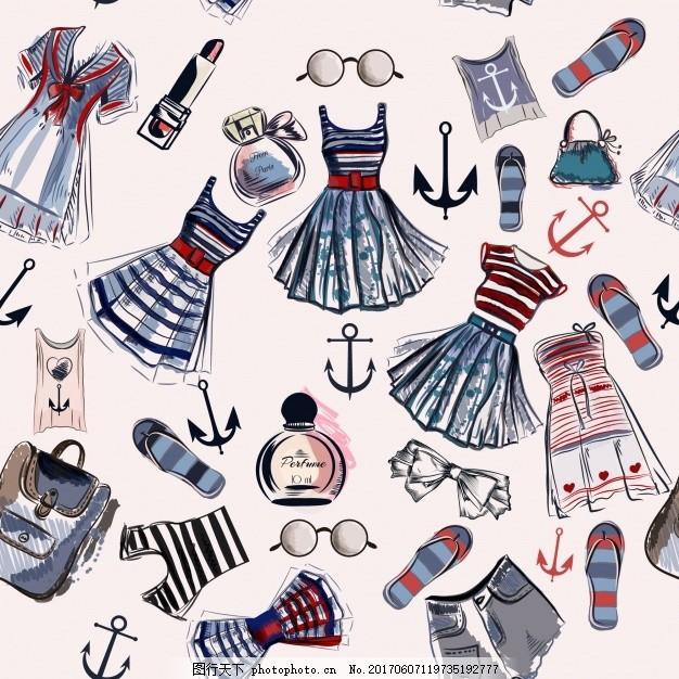 服装纸样设计 背景 图案 手 时尚 手绘 墙纸 蝴蝶结 礼服 无缝图案