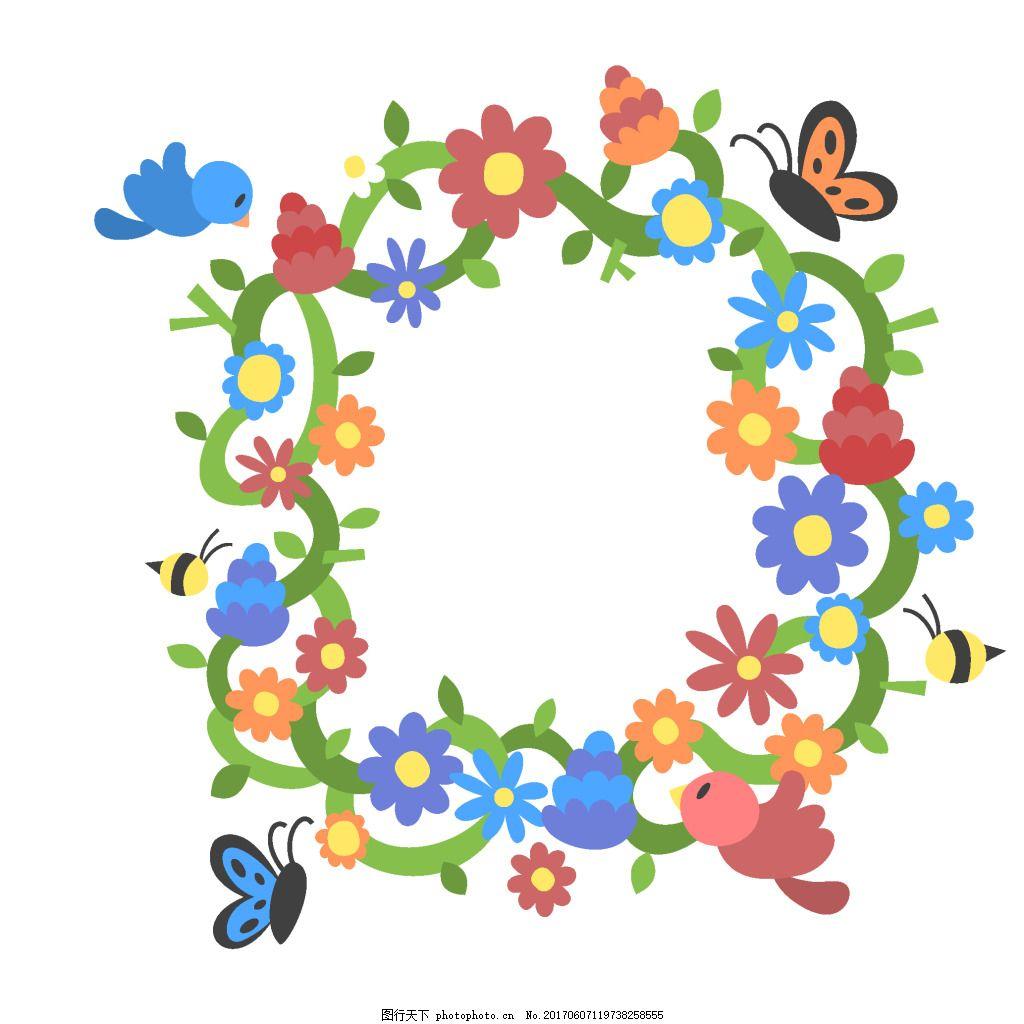 手绘花环蝴蝶元素