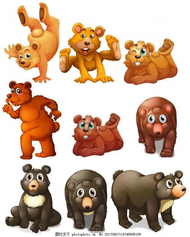 熊的不同位置的图解 可爱 动物 绘画 插图 可爱的动物 不同的 熊 位置