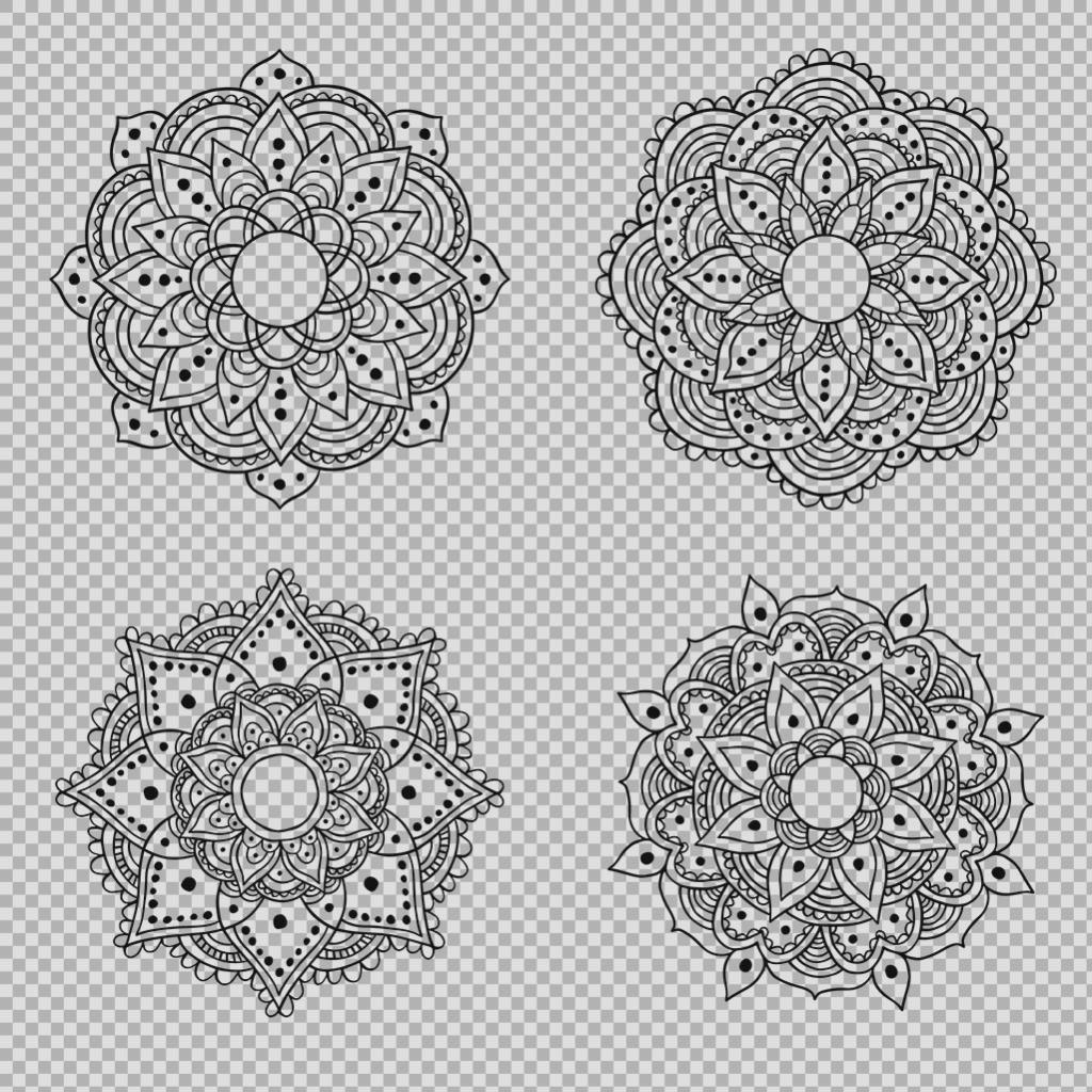 黑色曼陀罗花纹免抠png透明图层素材 雪花图标 几何对称花纹 唯美旋转
