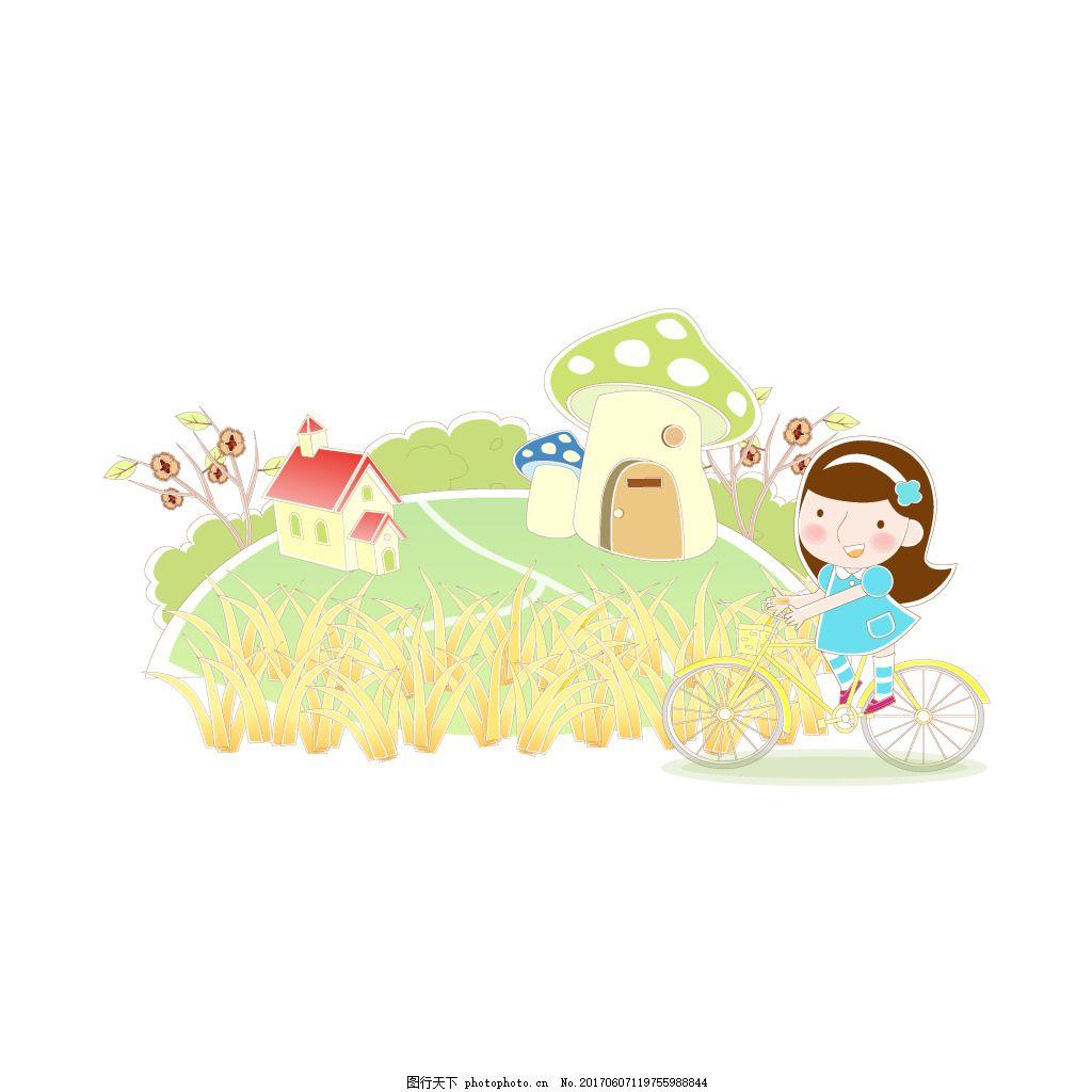 卡通麦田乡村元素 手绘 乡间 小路 女孩 单车 矢量
