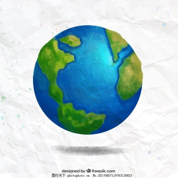 手绘地球 水彩画 一方面 地图 油漆 世界 世界地图 行星 手绘地图