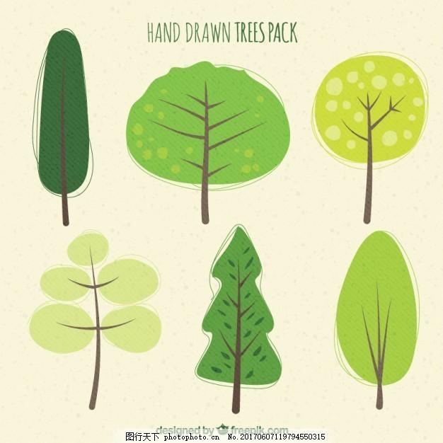 手绘树包 绿色 自然 森林 素描 树木 绘画 包装 草图 树叶
