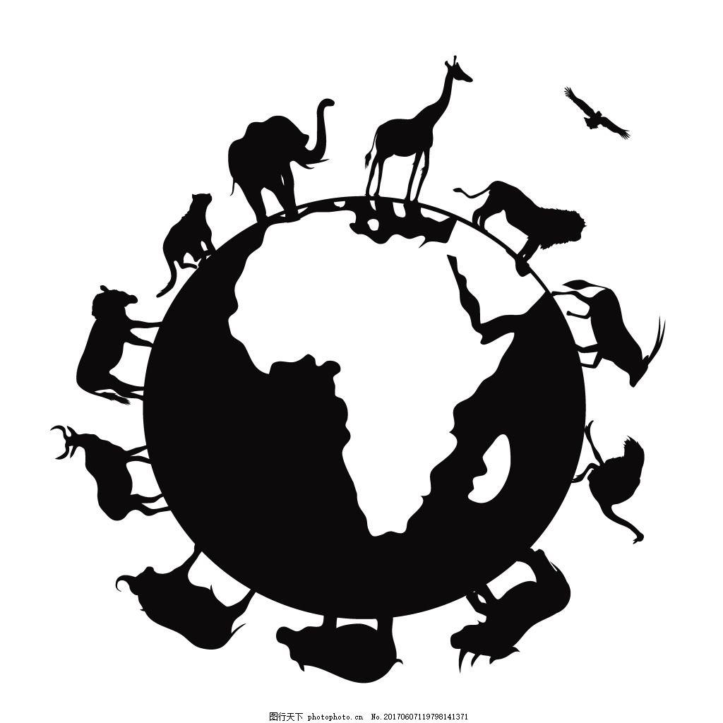 手绘动物地球元素 黑白 地图 世界 环绕 矢量