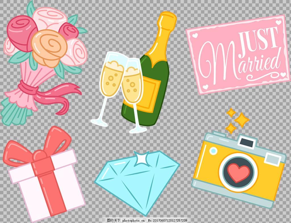 温馨婚礼物品免抠png透明图层素材 爱情元素 浪漫元素 浪漫主题