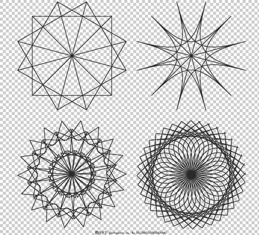 抽象对称图案花纹免抠png透明图层素材 圆形花边边框 圆环边框