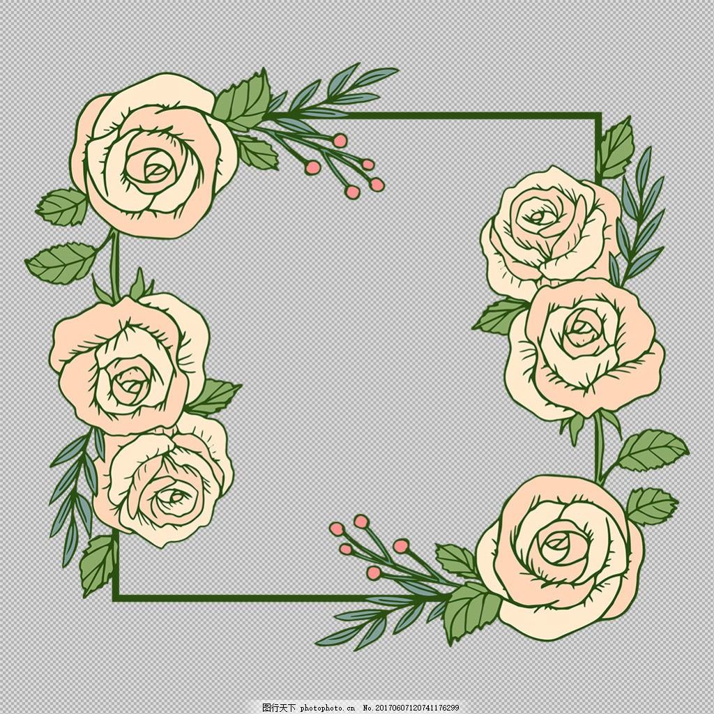 白玫瑰花卉边框免抠png透明图层素材 淘宝边框花边 花纹素材 欧式花纹