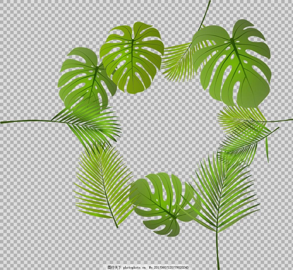 手绘绿色叶子边框免抠png透明图层素材
