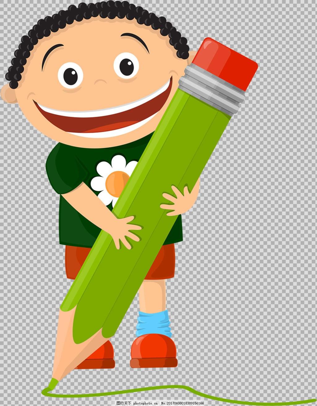 抱着铅笔的学生小孩免抠png透明图层素材