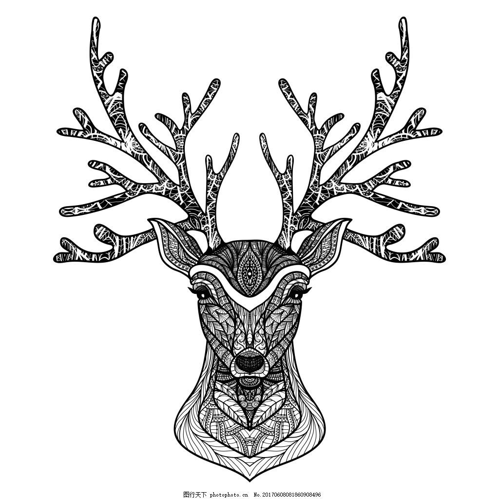 花纹麋鹿插画 动物 艺术 黑白 花纹 鹿角 麋鹿 创意 插画