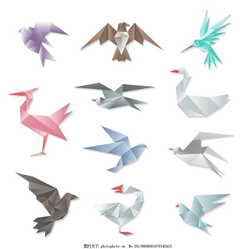 彩色折纸鸟类矢量 蜂鸟 鸽子 天鹅 鹰 动物