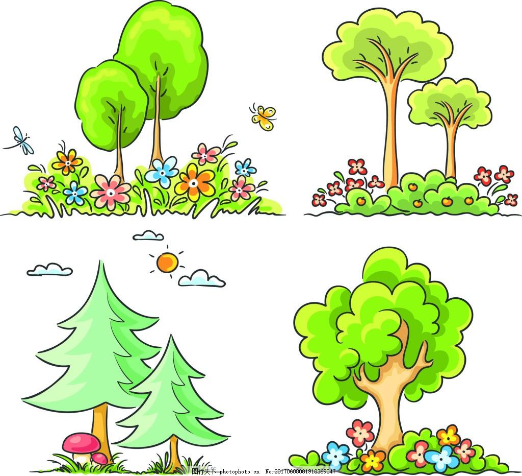 卡通树木森林矢量素材 蘑菇 蓝天 花朵 矢量素材 卡通树 矢量树 树