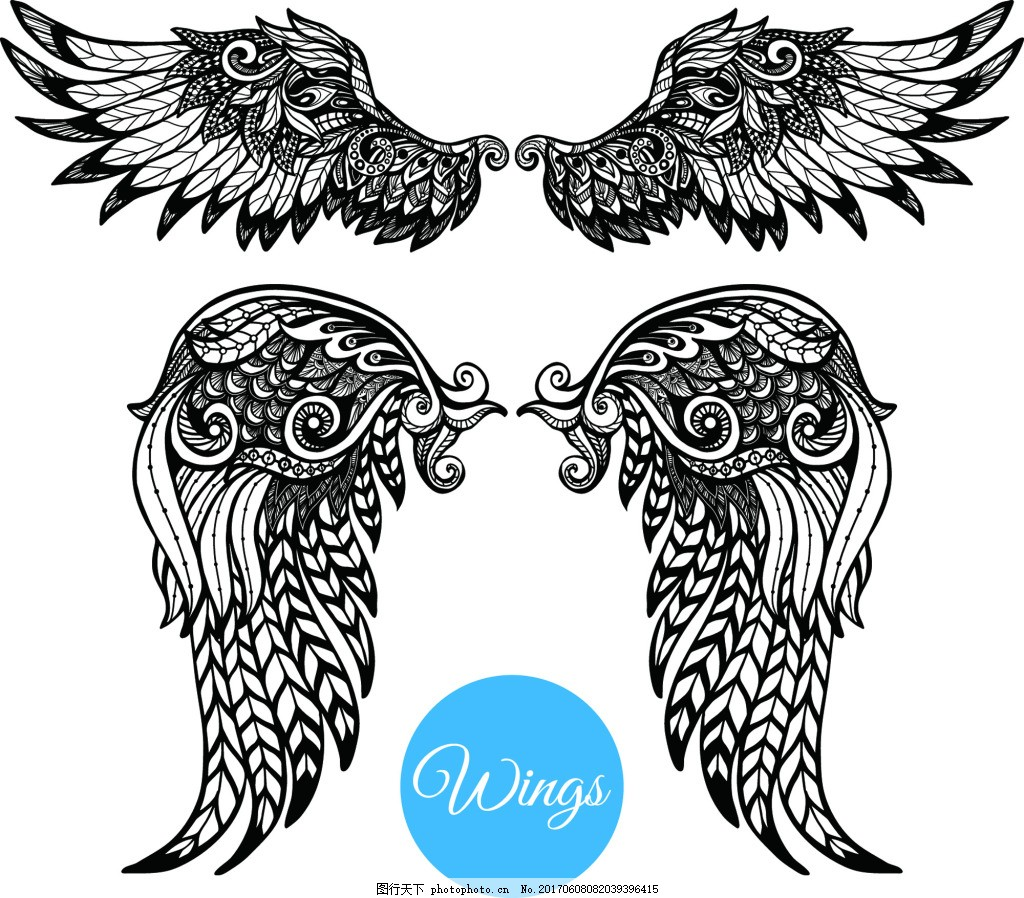 天使翅膀纹身图案矢量 插画 黑白 欧美 手绘 艺术 精细 铅笔画 纹理