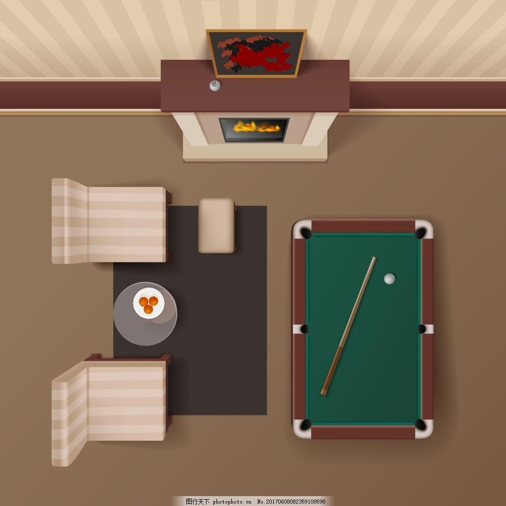 手绘休闲室家居装修布置矢量 活动室 台球 俯视 模拟人生 卡通 家具