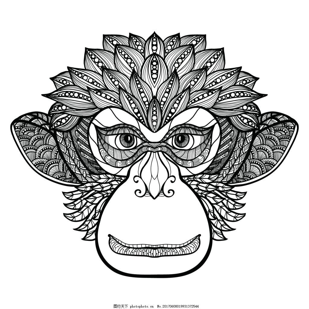 猴子创意手绘插画纹身图案矢量