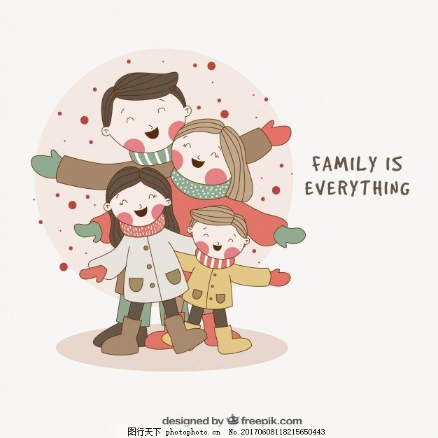 手绘可爱家庭背景