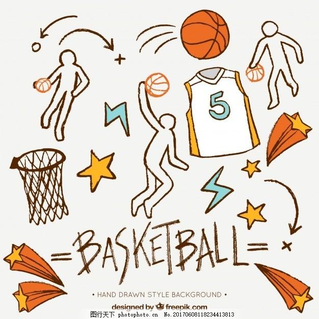 手绘背景篮球装饰元素 运动 健身 健康 色彩 明星 游戏 团队
