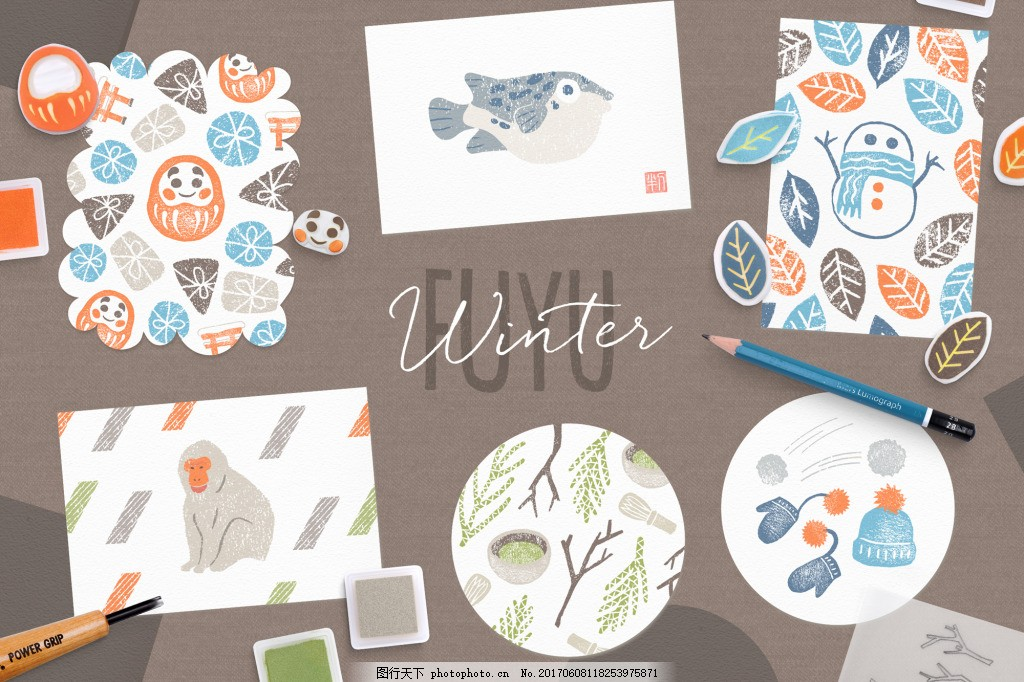 可爱动物树叶设计素材合集 日系 图案 卡通 绘画 物品      橡皮章