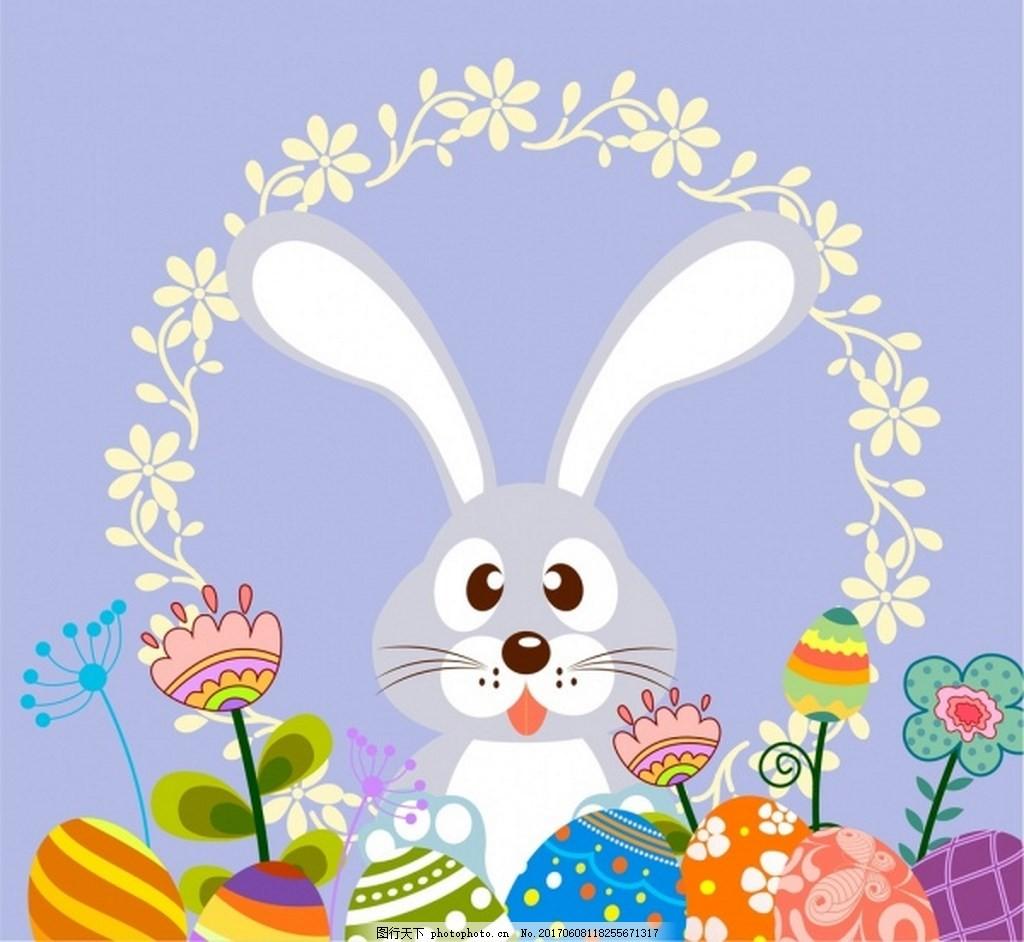 可爱兔子漂亮鲜花背景图