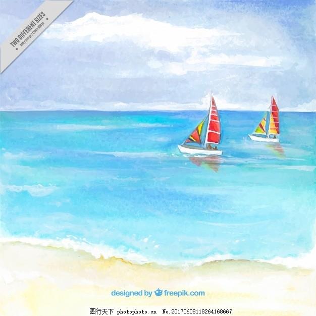 水彩画沙滩背景与两艘船 背景 水彩画 夏季 自然 海洋 海滩 阳光 水彩
