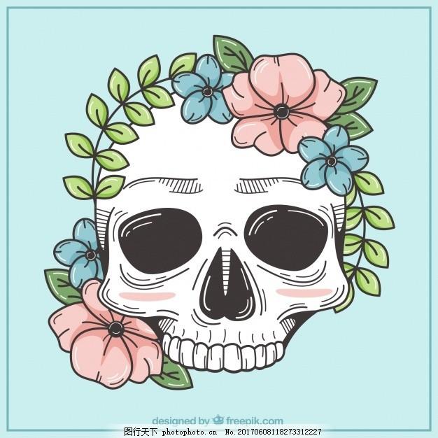 骷髅头 背景 花卉 手 自然 花卉背景 手绘 头骨 装饰 绘画