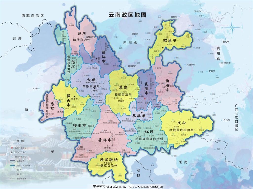 云南省地图cdr矢量素材
