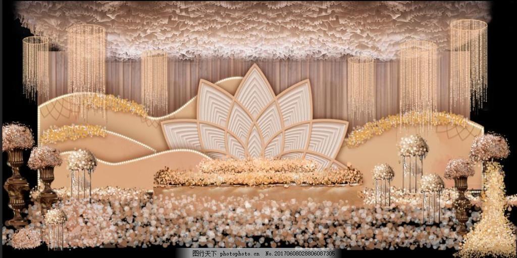 香槟色婚礼纱幔吊顶主舞台大气设计