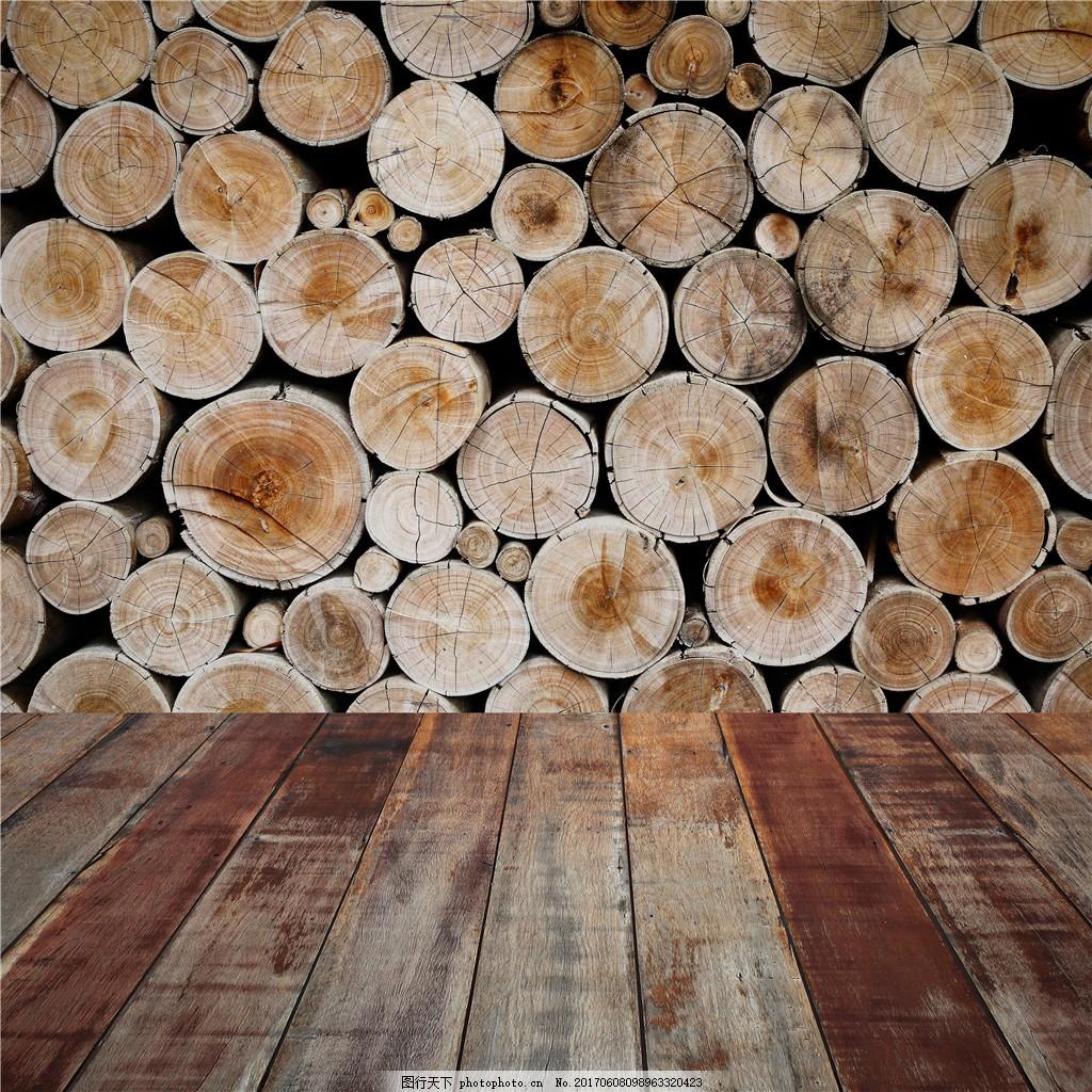 圆形木头堆