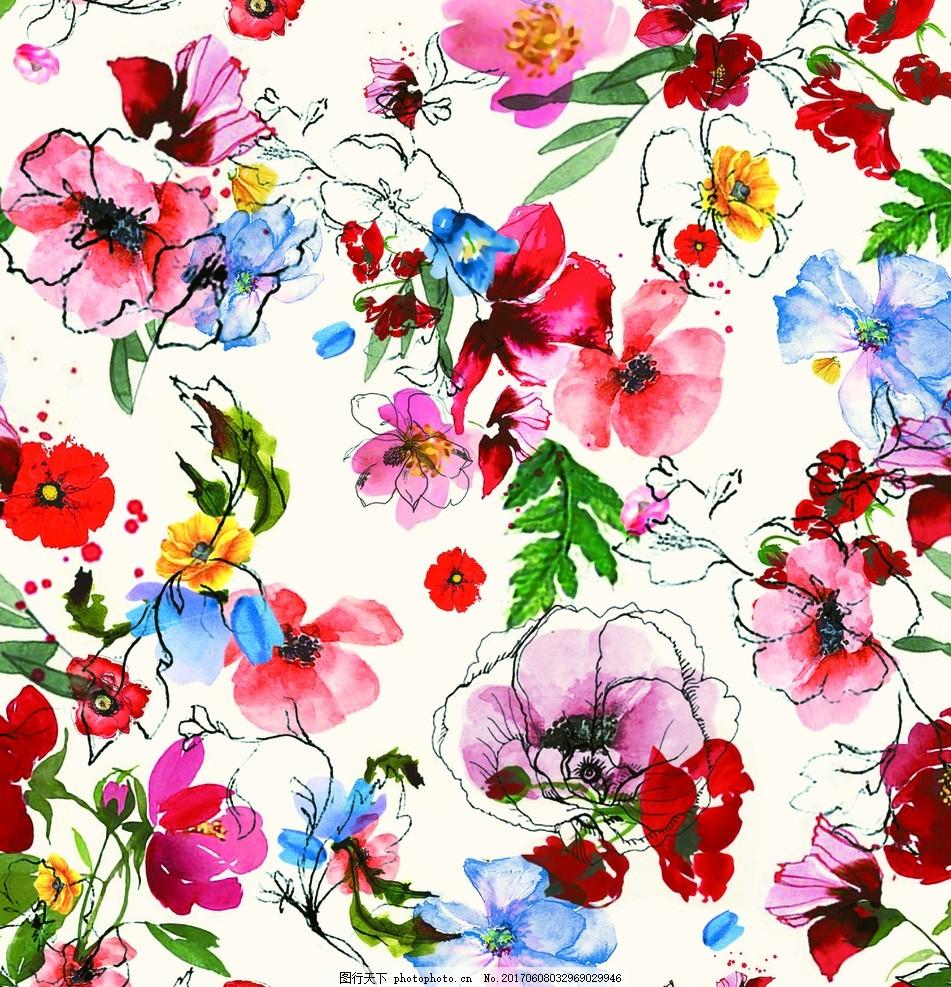 手绘花朵 服装设计 水印花 喇叭花 彩色花 面料印花 坯布花 叶子花