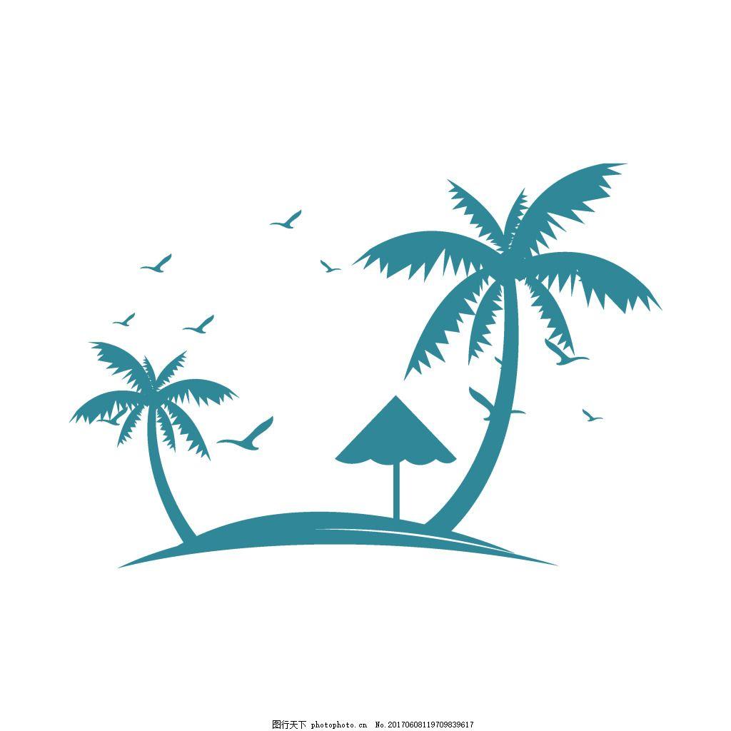 手绘蓝色椰树元素
