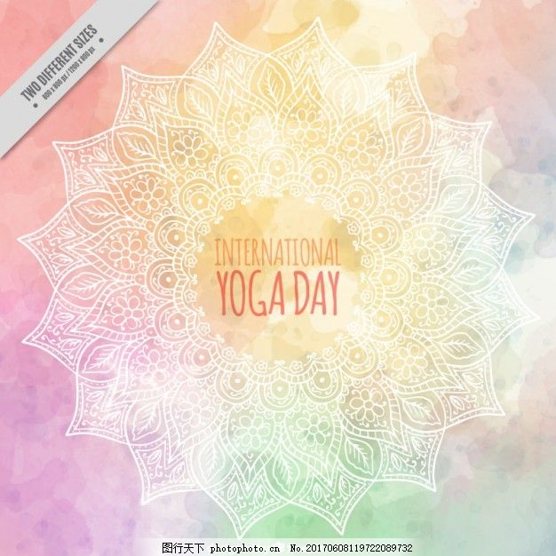 背景 花卉 水彩 手 曼陀罗 手绘 健康 可爱 瑜伽 人 莲花 装饰 运动