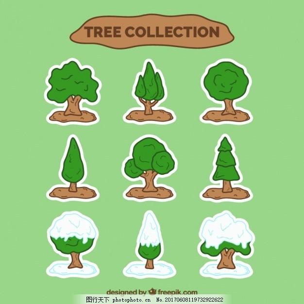 采绿雪树 手 绿色 自然 手绘 森林 绘画 有机 树木 植物 素描