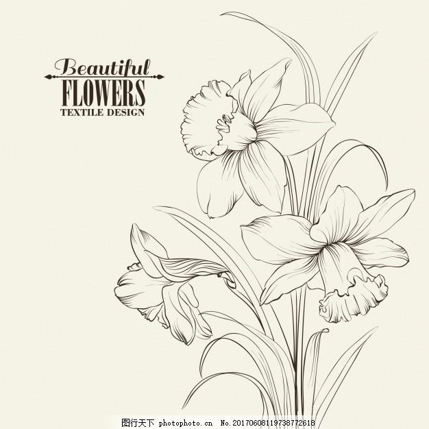 手绘背景 花卉 自然 花卉背景 春天 树叶 涂鸦 素描 植物 装饰