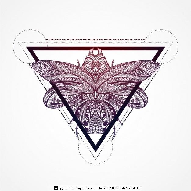 三角形背景中的蝴蝶 背景 几何 自然 动物 蝴蝶 三角形 墙纸 形状