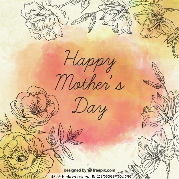 手绘玫瑰母亲节贺卡 花卉 卡片 鲜花 爱情 家庭 可爱 庆祝 妈妈