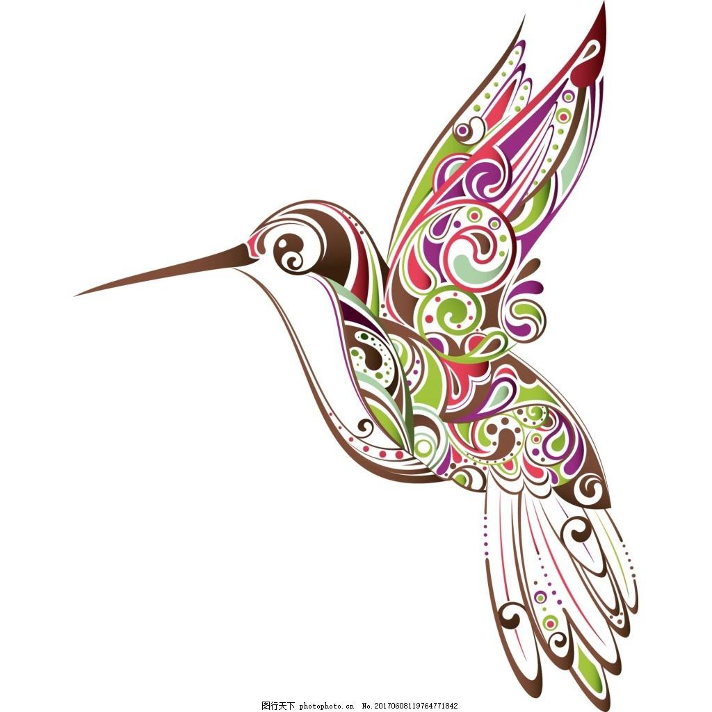 手绘彩绘小鸟元素