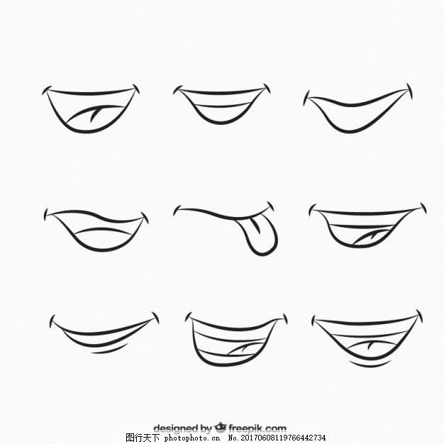 卡通的嘴 手 手绘 微笑 绘画 嘴巴 草图