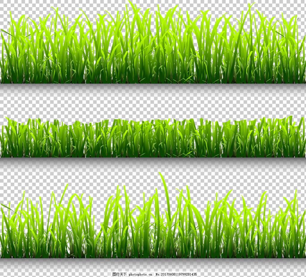 绿色草地图案免抠png透明图层素材 绿草边框 鲜花 花草 蝴蝶