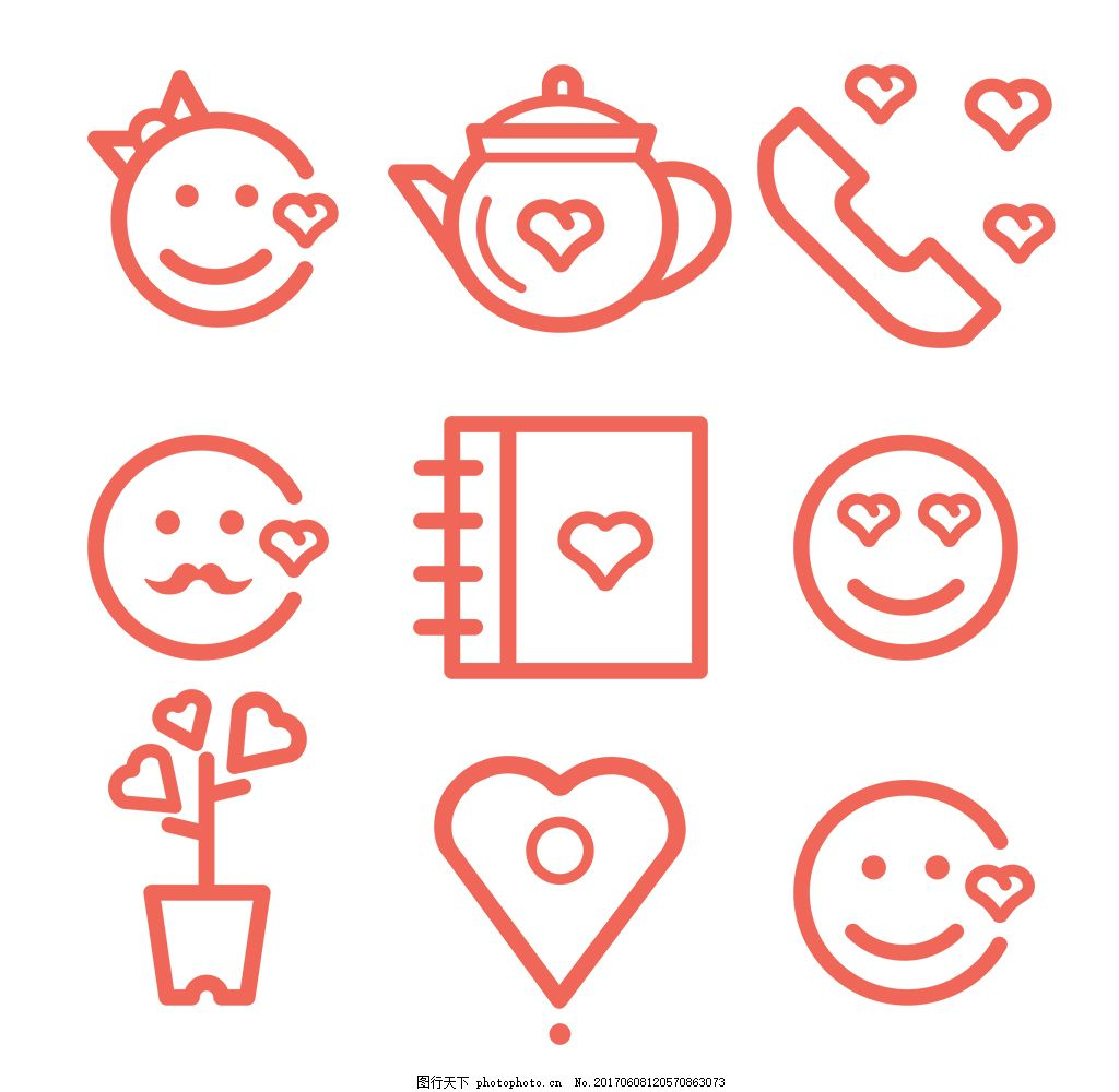 手绘情人节图标 扁平图标 创意图标 爱情 婚礼 婚礼图标 婚庆