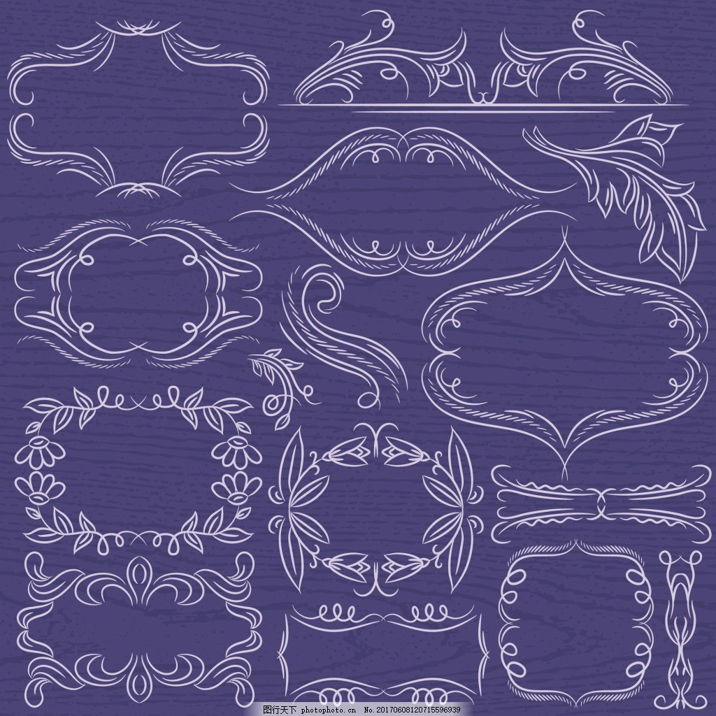 树叶 卡通 线条 边框 简约 典雅 复古 花纹 装饰 背景 矢量 素材 欧式