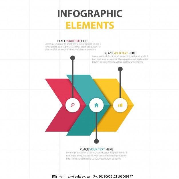 有三个彩色箭头图表 图表 业务模板 图形 营销 流程 数据 信息 步骤
