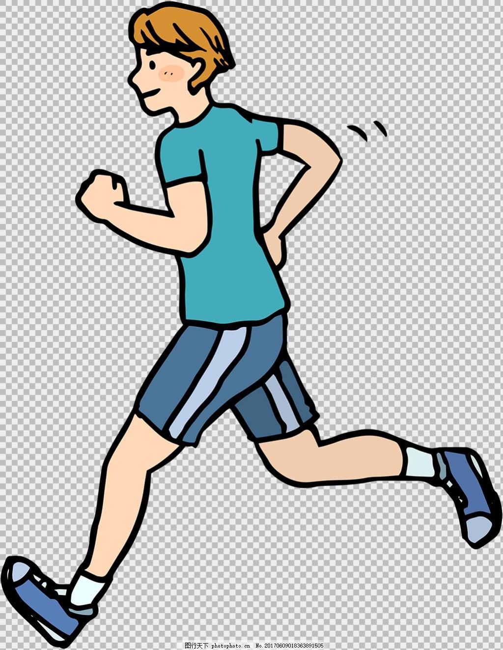 手绘风格跑步者免抠png透明图层素材 卡通奔跑的人 运动会 励志