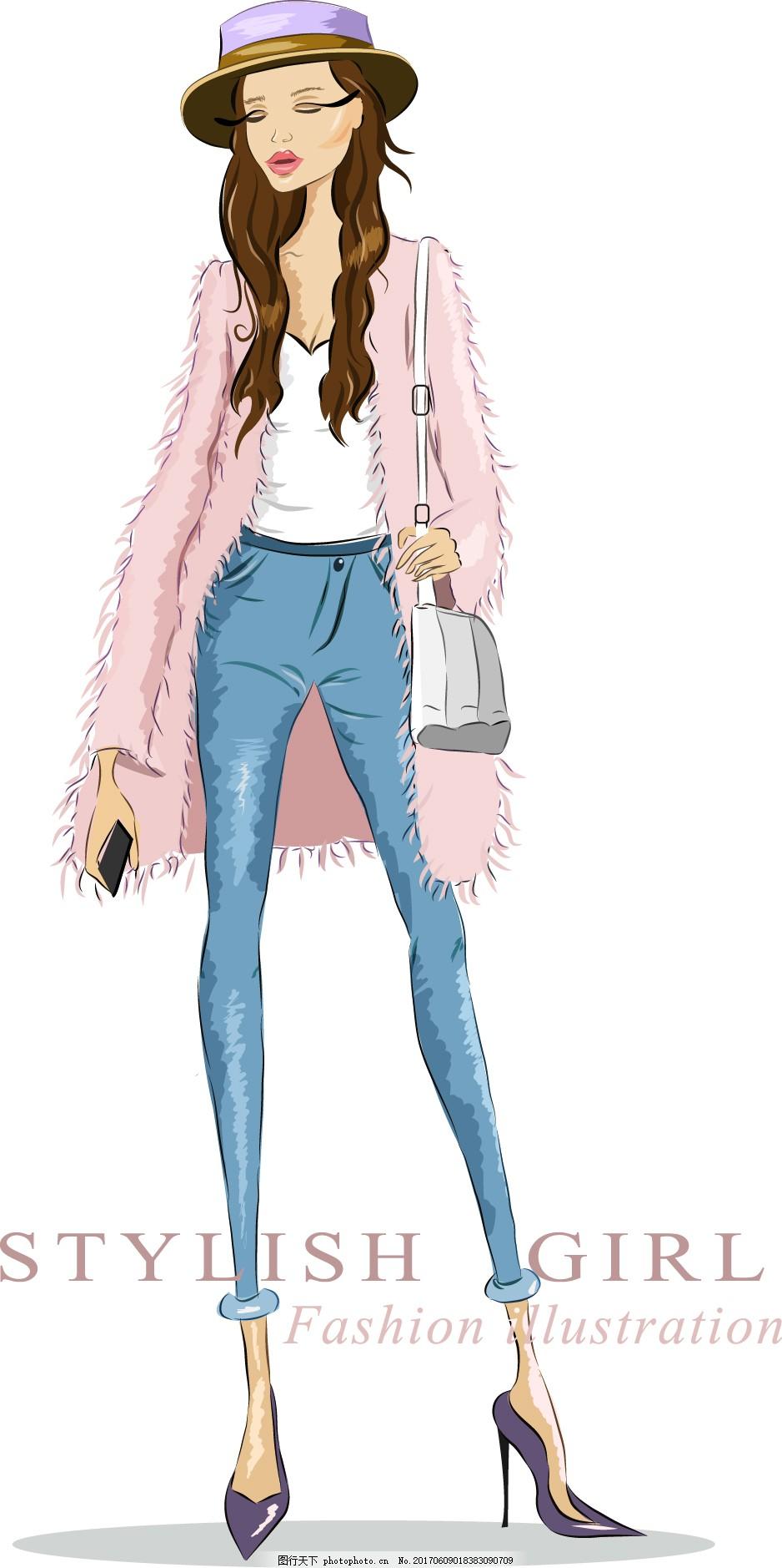 手绘时装美女插画 人物 高跟鞋 时尚 帽子